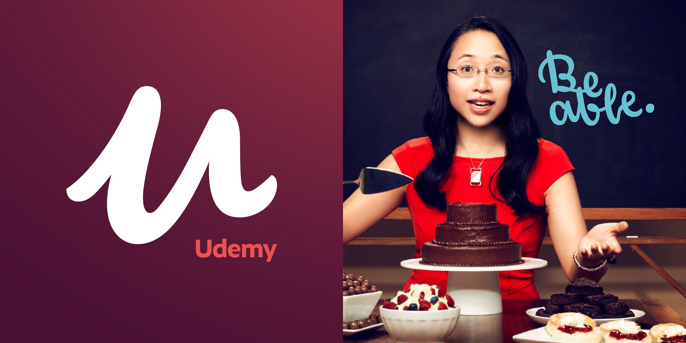 "Grid image with two images. On the left is the Udemy logo, a burgundy background with a big letter ""U"" in white. The image on the right is a female presenting person in their twenties. She has several deserts in around her as she is sitting at a table with a slicing knife. She appears to be in mid sentence as if she is demonstrating something on the topic of baking."