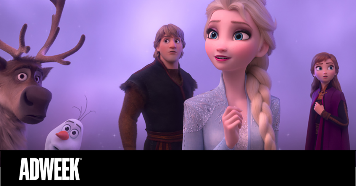 ADWEEK. A scene from the Disney movie Frozen. Elsa, Anna, Olaf, and Sven are posing on a purple background.