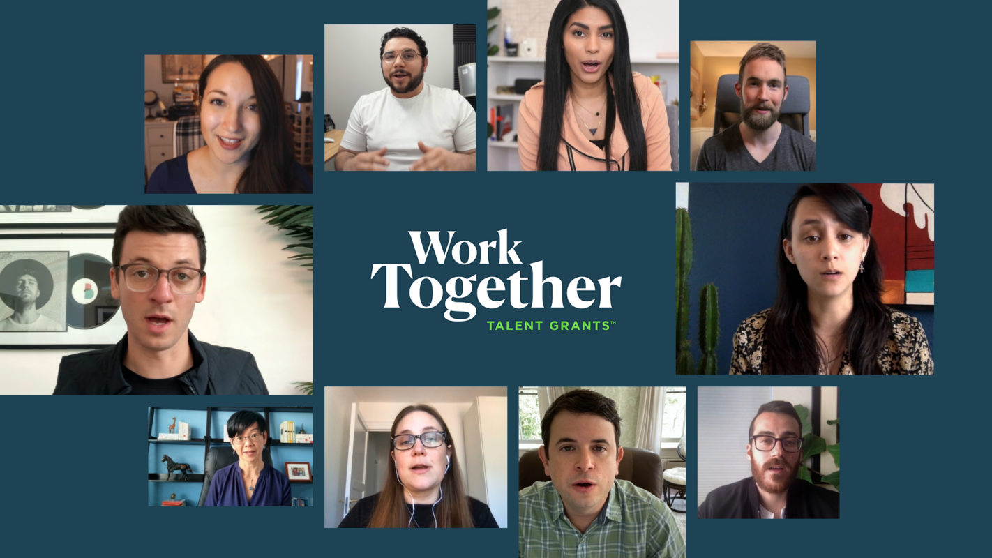 "A grey-blue background with a circle of screenshots of various people speaking in a video conference call. In the center of the screenshot is text in white text letters that reads ""Work Together."