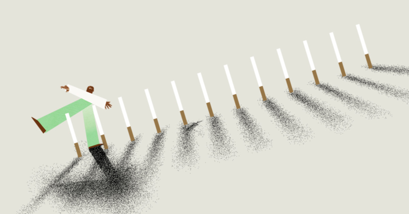 Cut paper style animation of someone walking precariously through a row of tall cigarettes.