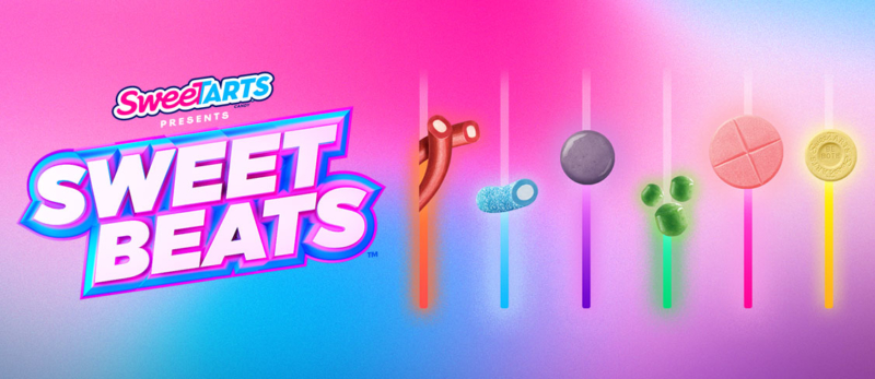 bright, multi-colored background featuring SweeTarts candy as a music equalizer. The SweeTarts logo and SWEET BEATS title sit on the left.